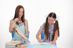 conflict of teacher and student - stock photo