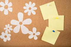 sticky memo note card on board - stock photo