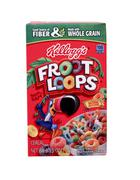 Box of kellogg's fruit loops cereal Stock Photos