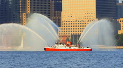 Fire Boat  throwing Water Stock Footage