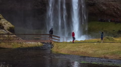Seljalandsfoss waterfall in southern Iceland. Stock Footage