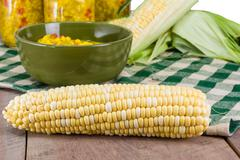 bowl of fresh corn relish with corn - stock photo