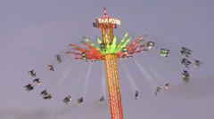 Oktoberfest Flying Swing Carousel Stock Footage