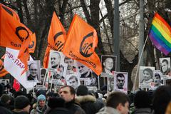 posters in support of political prisoners - stock photo