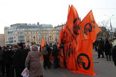 flags of the solidarity movement was collected after the march - stock photo