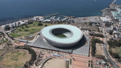 Aerial footage of Green Point Stadium Cape Town in South Africa Stock Footage