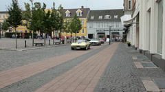 Classic american cars meeting on a town square in Denmark Stock Footage
