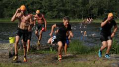 Swimrun competition - stock footage