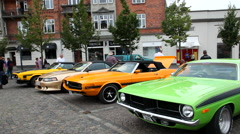Classic american cars parked side by side Stock Footage