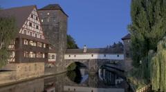 Timelapse Nuremberg bridge view Stock Footage