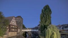 Timelapse Nuernberg Charles bridge view Stock Footage