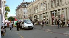 Anti Israel protest in Place Gutenberg, Strasbourg, France - stock footage