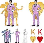 King of hearts attractive asian man with corps de ballet dancers silhouettes - stock illustration