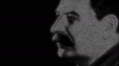 Animation of Josef Stalin with numbers running Stock Footage