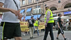 Anti Israel protest in Strasbourg, France - stock footage