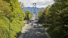Lions Gate Bridge at Stanley Park in Vancouver, British Columbia, Canada - stock footage
