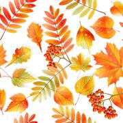 Stock Illustration of Swatch ready detailed seamless wet leaves.