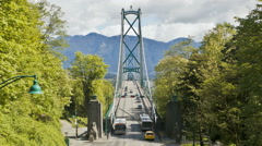 Lions Gate Bridge at Stanley Park in Vancouver, British Columbia, Canada Stock Footage