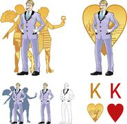 King of hearts attractive caucasian man with corps de ballet dancers silhouettes - stock illustration