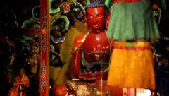 Interior of budhist temple in Nepal's mustang region. Stock Footage