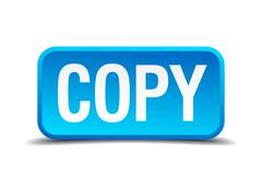 copy blue 3d realistic square isolated button - stock illustration