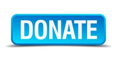 Donate blue 3d realistic square isolated button Piirros