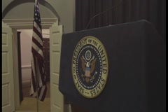 Podium at White House Press Gallery Stock Footage