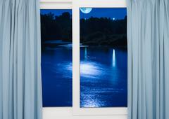 window view of the full moon - stock illustration