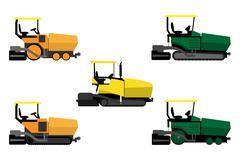 asphalt pavers set - stock illustration