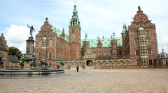Frederiksborg Castle is a historic place in Denmark Stock Footage