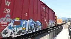 CLOSE FREIGHT TRAIN PASSING - Freight train passes very fast very close #1 Stock Footage