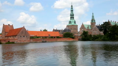 Frederiksborg Castle seen from the lakeside Stock Footage