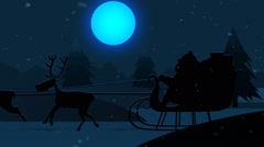 Santa Claus With Reindeers Riding On Snowy Landscape  Christmas Xmas holidays Stock Footage