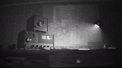 Vintage Radio Station on desk world war old broadcast Stock Footage