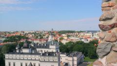 View of Palace of the Grand Dukes of Lithuania with the hill of Gediminas' Tower Stock Footage