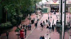 Timelapse London Crowd of people walking to/from Underground Station Stock Footage