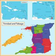 Trinidad and Tobago map - stock illustration