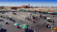High angle time lapse of market on Djemaa el Fna being setup Stock Footage