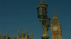 Big Ben and Westminster Bridge lamp static 04. 4K - stock footage