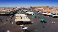 High angle time lapse of market stalls on Djemaa el Fna - stock footage