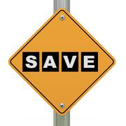 3d road sign save Stock Illustration