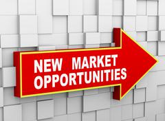 3d abstract cube wall arrow - market opportunities - stock illustration
