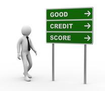 3d businessman good credit score roadsign Stock Illustration