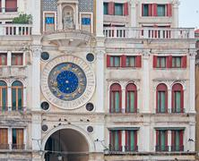 detail of venice clock tower - stock photo