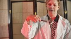 Blood sample needle testing Stock Footage