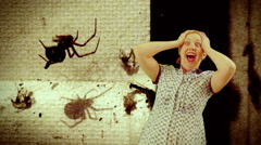 Fear of spiders scream Stock Footage