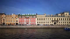 View of the Moika river in St. Petersburg Time lapse Stock Footage