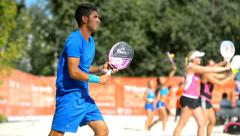 Marco Garavini on the ITF Beach Tennis World Team Championship - stock footage