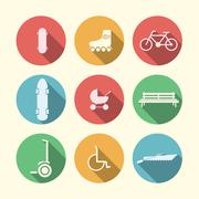 Flat vector icons for active leisure in the park Stock Illustration