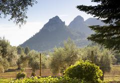 two mountain tops - stock photo